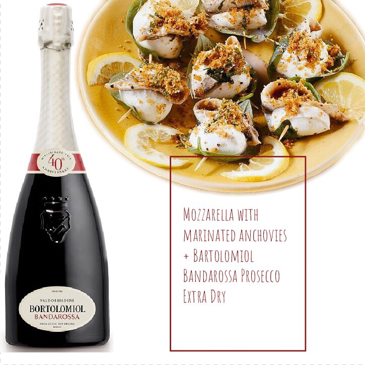 Food pairing: mozzarella and marinated anchovies with Bartolomiol Bandarossa Prosecco