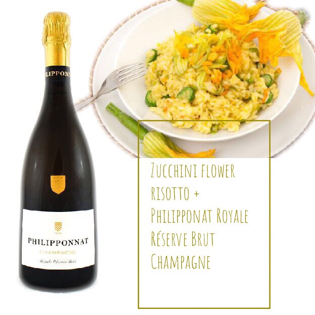 Food pairing: zucchini flower risotto with Philipponnat Brut Champagne