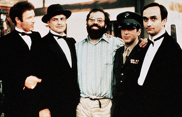 Francis Coppola on set with the cast of The Godfather