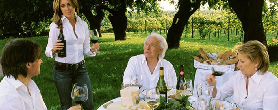 The Zenato family enjoying lunch in their vineyards