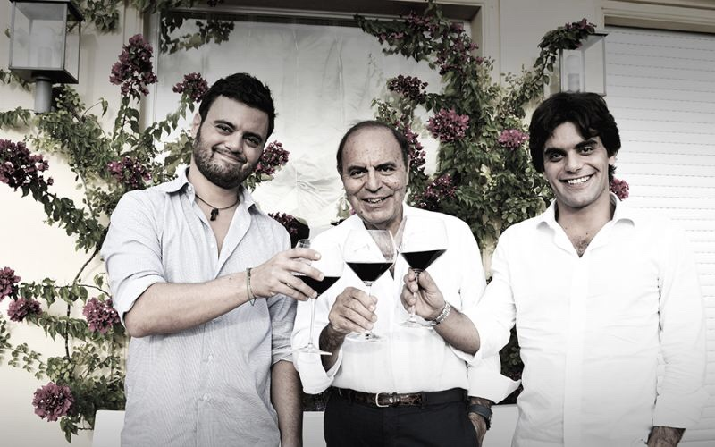 Bruno Vespa with his two sons, Alessandro and Federico.