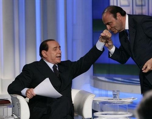 Vespa and Berlusconi on his show, Porta a Porta