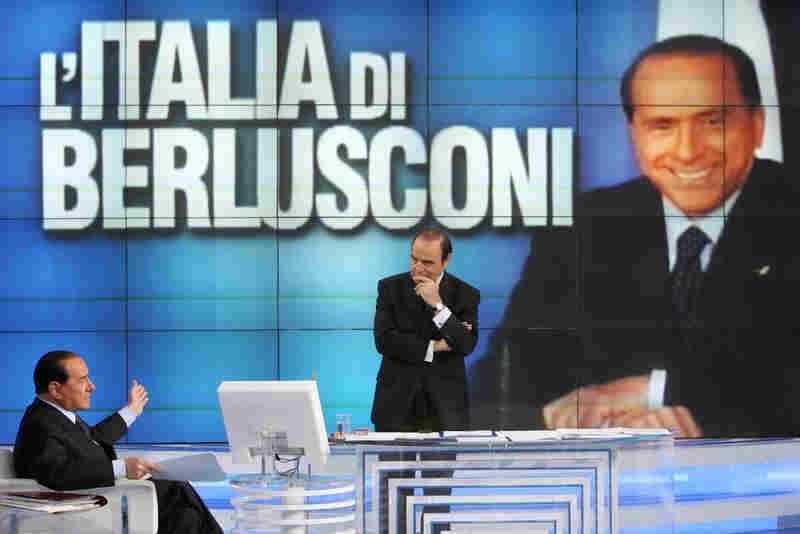 Vespa interviewing Berlusconi on his show, Porta a Porta