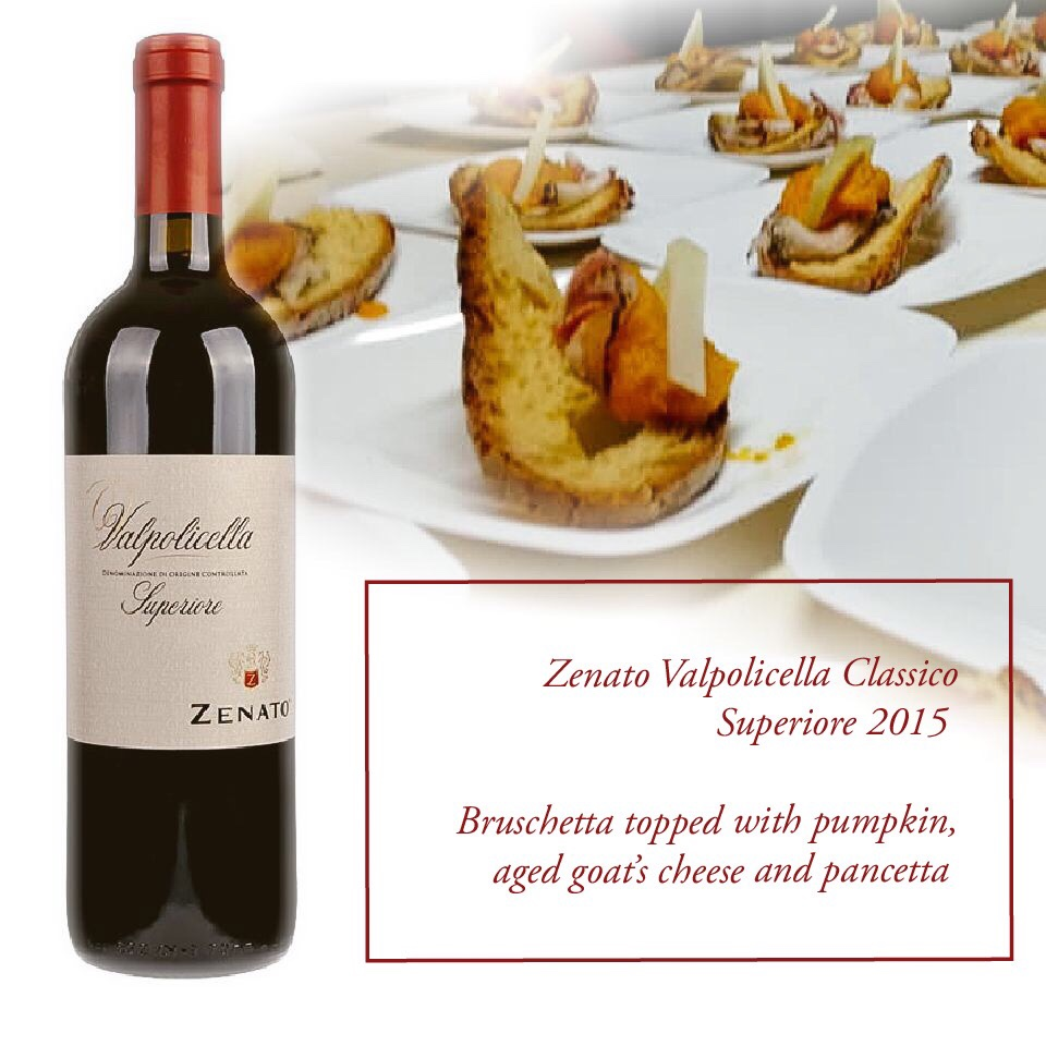 Food pairing with Valpolicella Classico: bruschetta topped with pumpkin, goats cheese and pancetta
