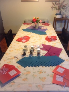 Table laid out for the wine tasting