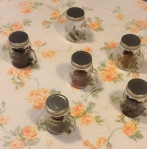 Glass jars with the common aromas found in the wines