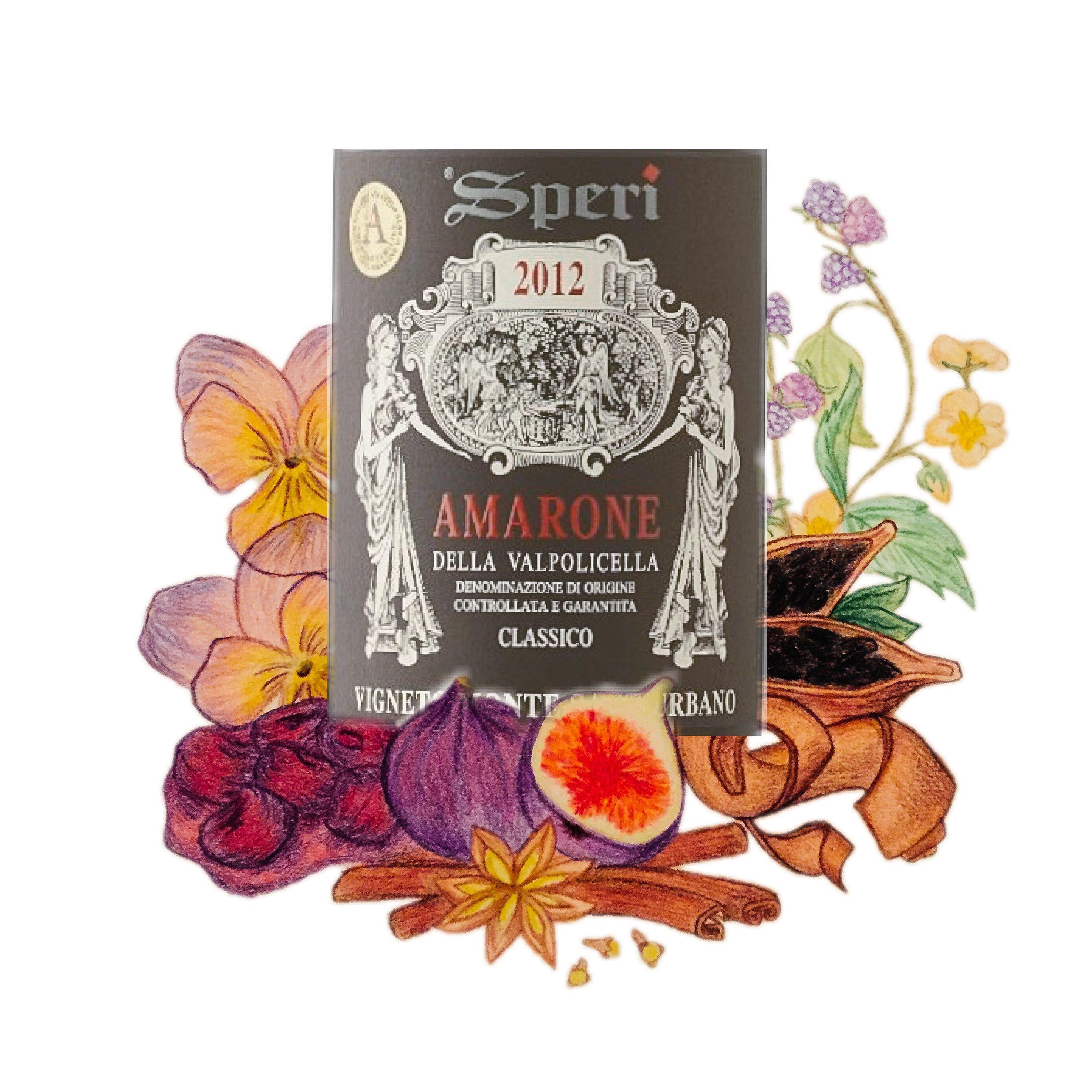 Speri Amarone Vignetti Sant'Urbano 2012 illustration and wine label
