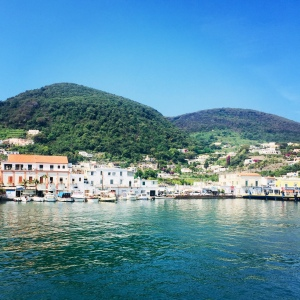 Arriving in the port of Ischia by ferry