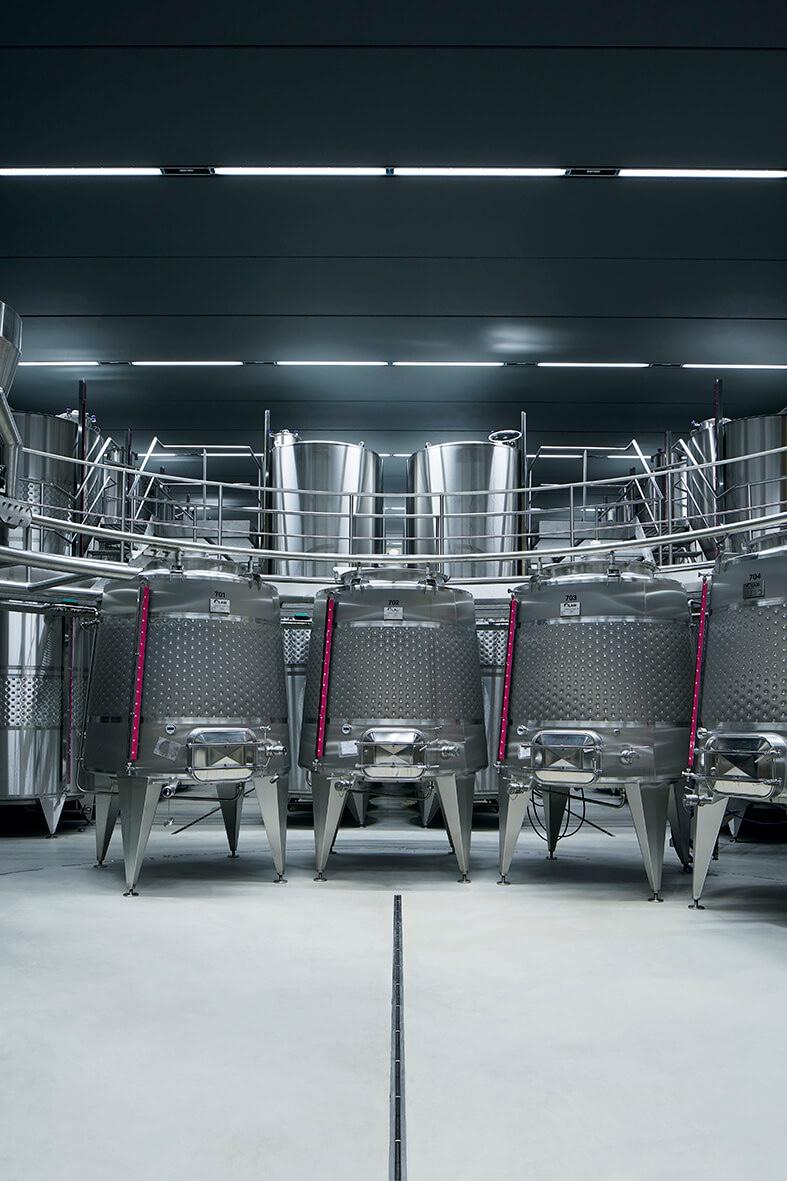 steel vats for fermentation at Elena Walch