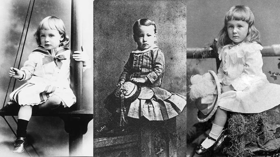 photos of boys and girls wearing dresses in the early 1900's.