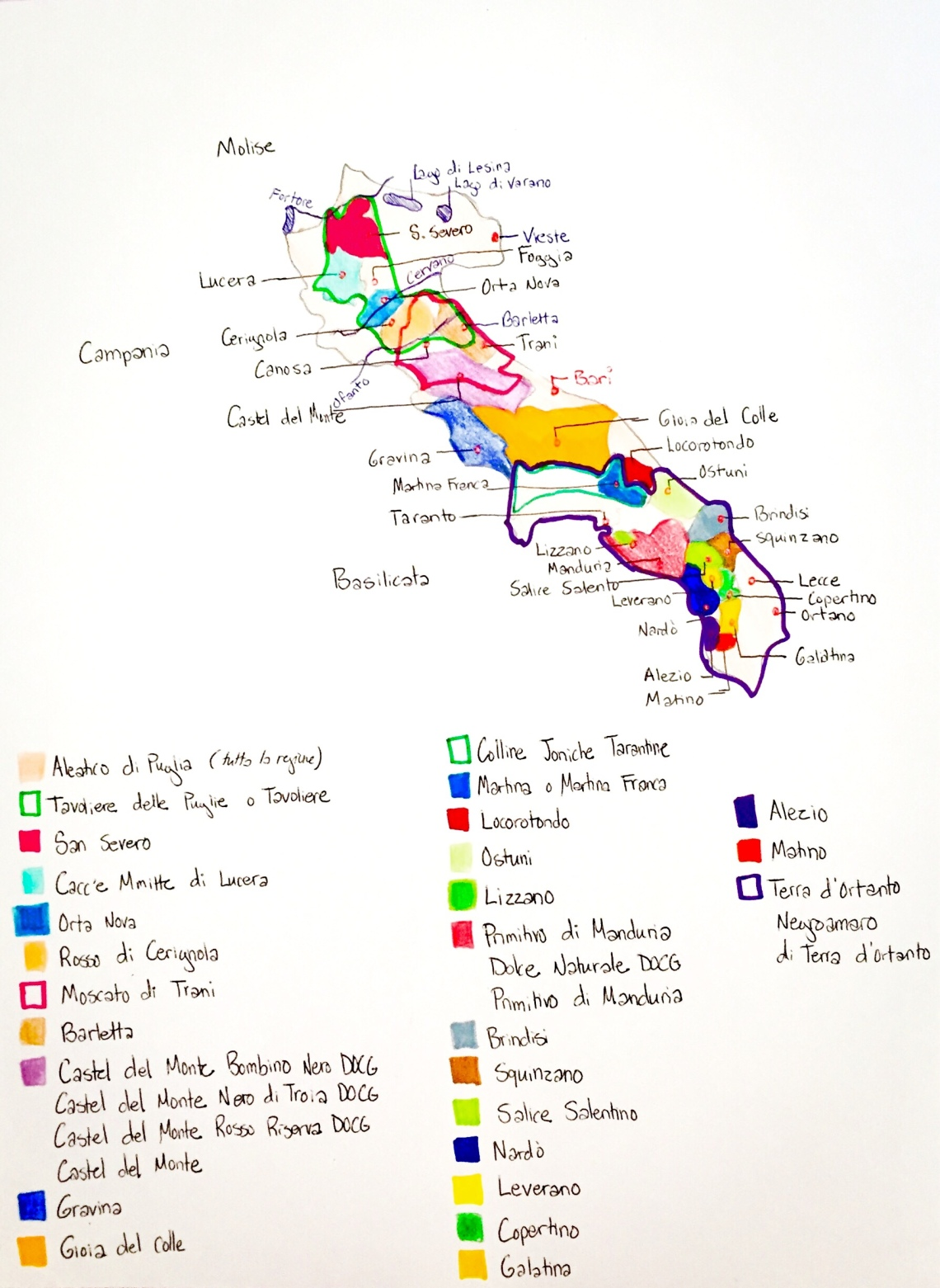 Map of the wine regions in Puglia