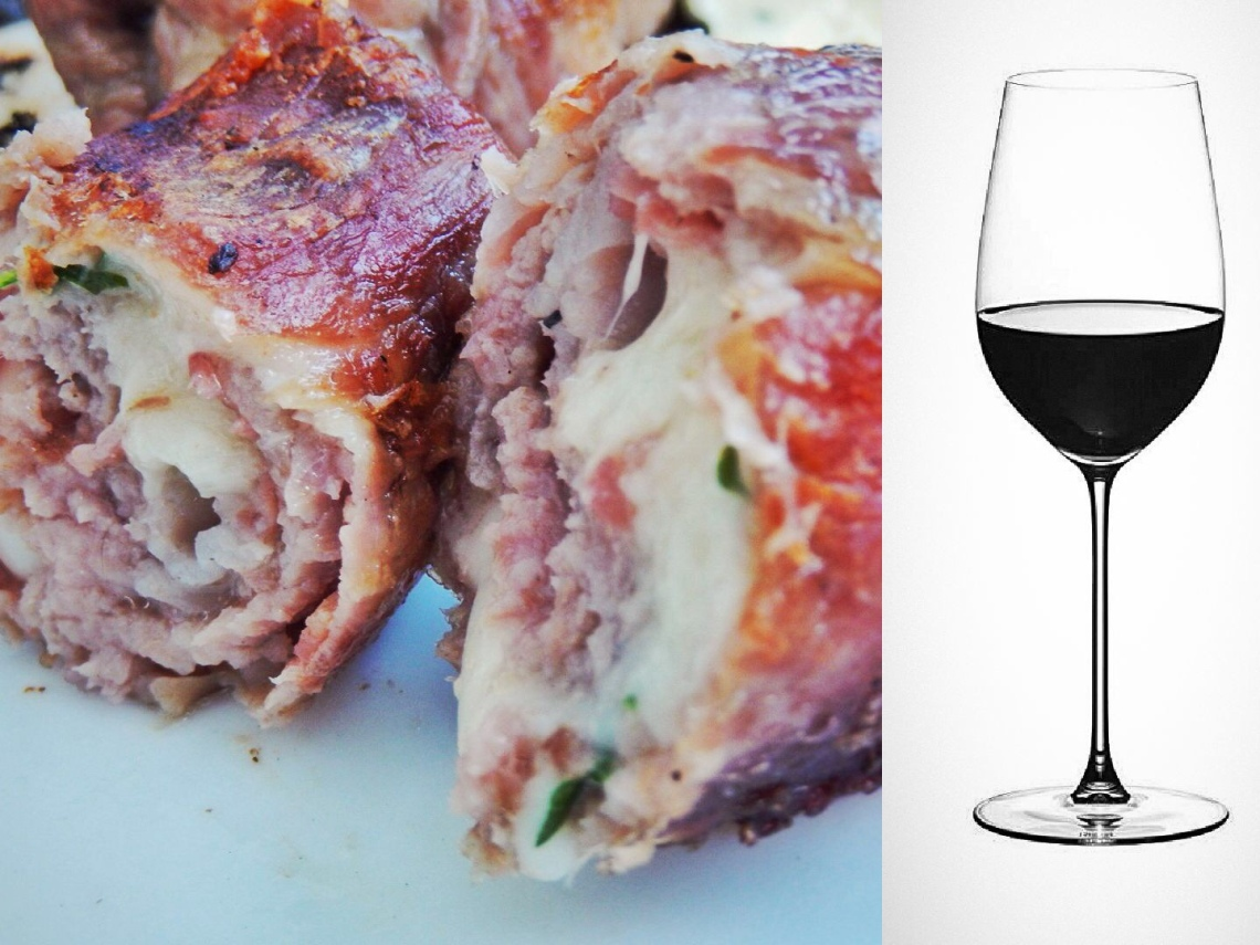 """Bombette di cavallo"", horse meat stuffed with local cheese, paired with Terra d'Otranto Negroamaro DOC"