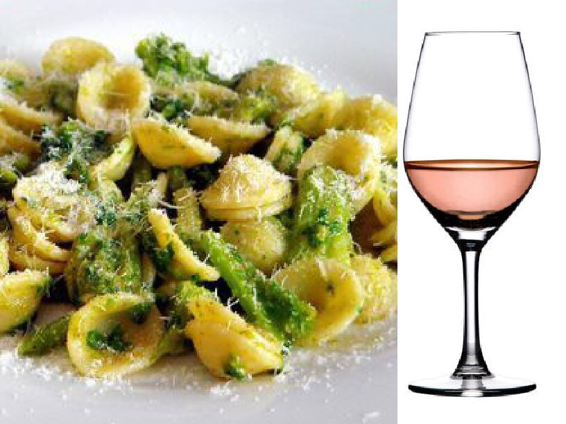 """Orecchiette alle cime di rapa"", a local type of pasta served with broccoli, paired with Salice Salentino Rosato DOC (Negroamaro, Malvasia Nera grapes)"