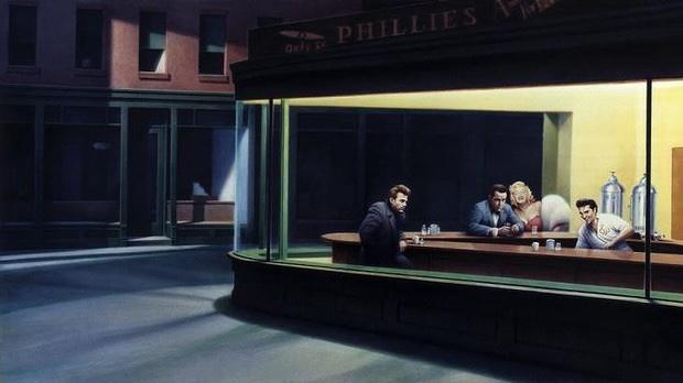 "An homage to ""Nighthawks"", Gottfried Helnwein's ""Boulevard of Broken Dreams"" (1984), depicting fallen pop-culture icons Humphrey Bogart, Marilyn Monroe, Elvis Presley and James Dean. "