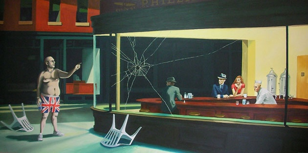 """Parody of """"Nighthawks"""" by Banksy (2005) depicting a football hooligan on the outside trying to break in. """