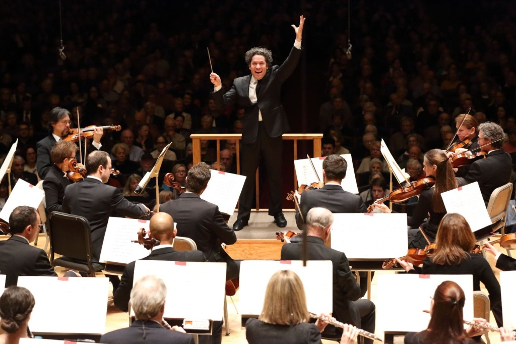 Conductor in front of an orchestra